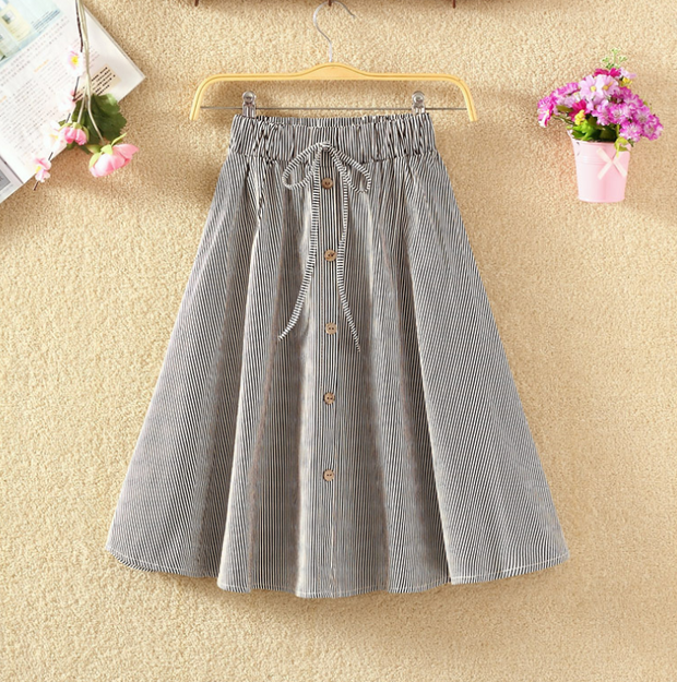 Summer High Waist Button Up Skirt