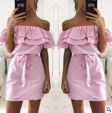 Strapless Cape Sleeve Bow Tied Mini Dress