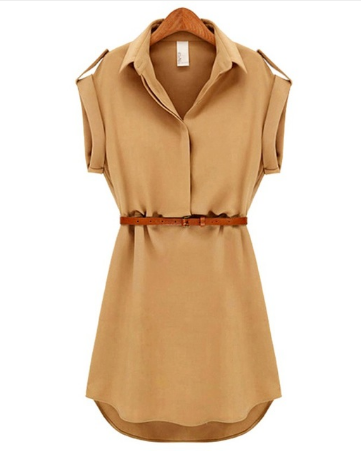 Casual Summer Style Dress Women Casual V-neck Short-Sleeved Shirt Loose Chiffon Mini Dress with Belt