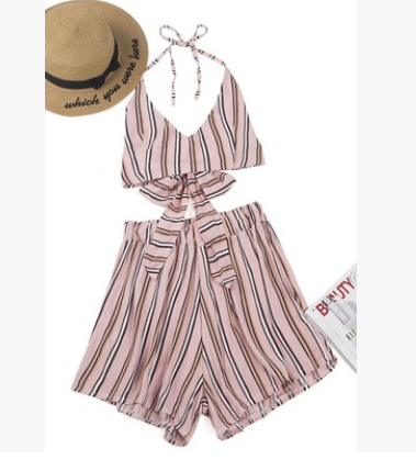 Sling backless shorts pink striped two-piece