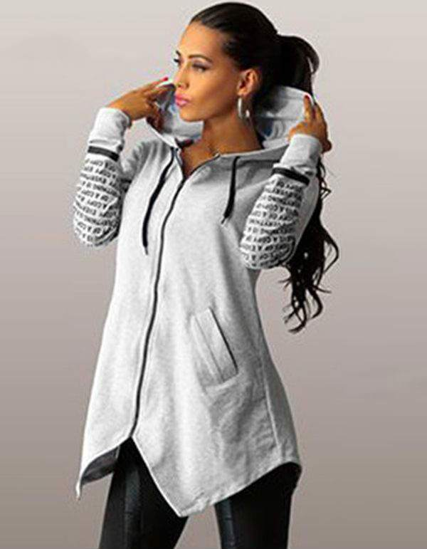winter women Hoodies sweatshirts letter print  plus  zipper irregular top sportswear