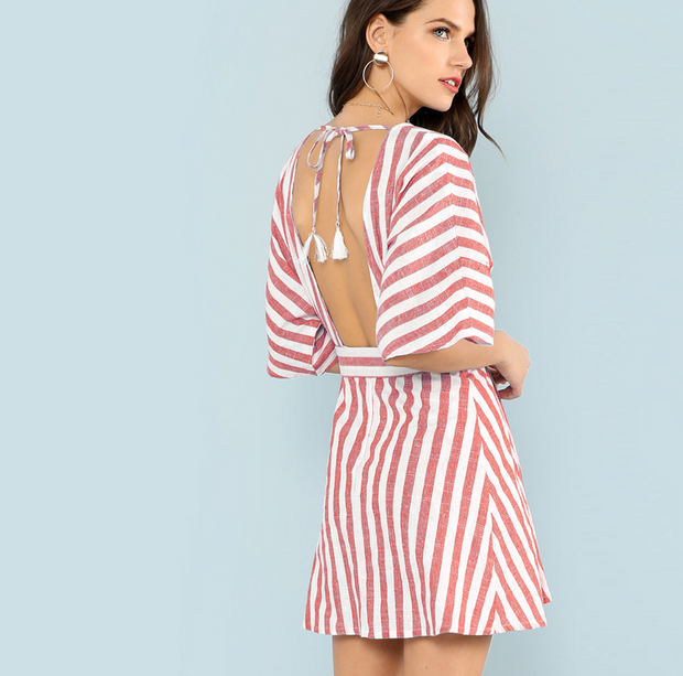 Deep V-neck backless striped print lace-up dress