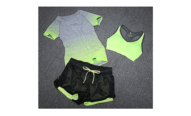 Women Yoga Sports Bra Shorts and Tee Suit 3 Pieces