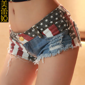 American Flag Patterned Mini Pants