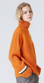 High necked stripes stripes sleeves loose sleeves sweaters