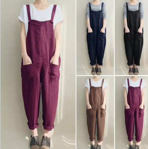 Spring and summer new foreign trade women's pants casual pants cotton and linen breathable large size strap