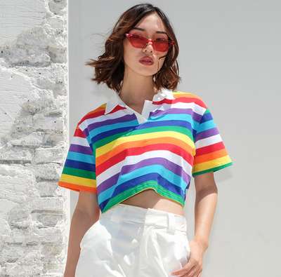 Half-high collar lapel rainbow navel short-sleeved t-shirt