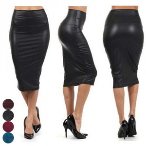 Newly Women High Waist Faux Leather Pencil Skirt Bodycon Skirt Solid Sexy OL Office Skirts