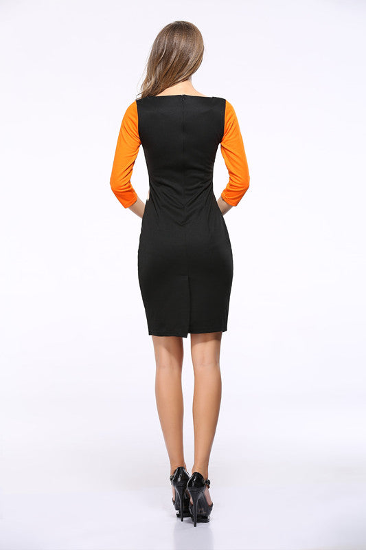 USA SIZE Contrast stitching sexy bag hip slim slimming sleeves pencil dress