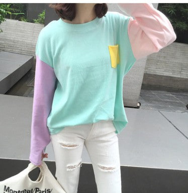 Macaron Color  Long-sleeve O-neck Sweatshirt