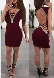 Sexy Slim Ladies Deep V-neck Bodycon Party Dresses Women Summer Sleeveless Hollow Out Backless Package Hip Dress Clubwear