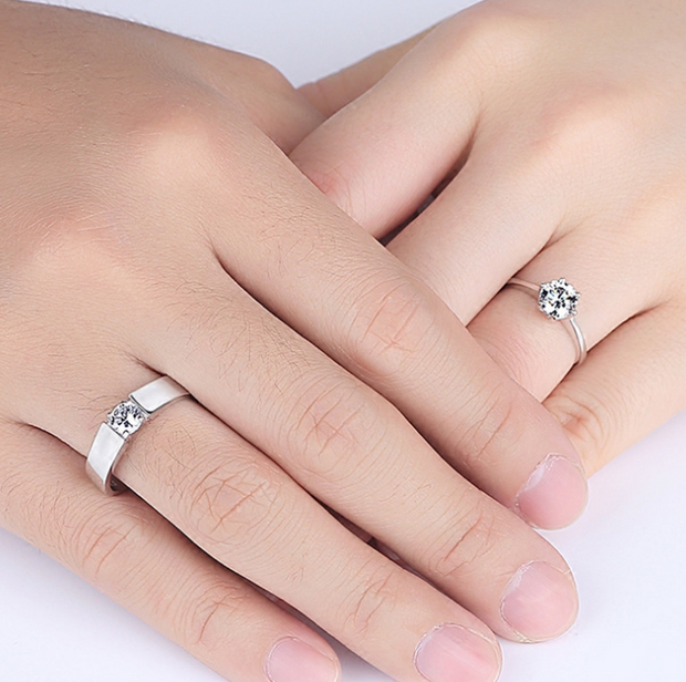 Fashion Crystal Adjustable Couple Rings