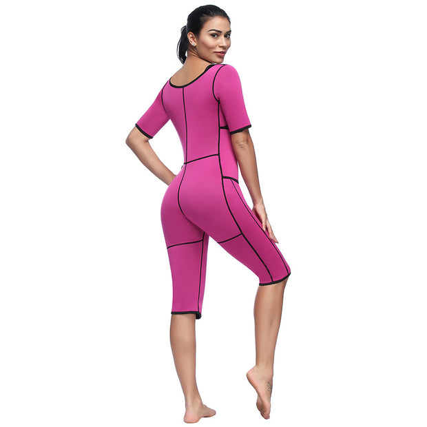 New neoprene long piece bodysuit double-layer abdomen movement pressure heating burst sweatshirt
