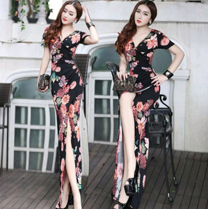 Women Floral Wrapped Bandage Gown