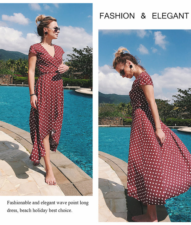 USA SIZE V-neck wave point chiffon dress leisure vacation wind wave Simia split beach dress