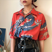 Summer Harajuku BF wind street vintage flying dragon print loose men and women couple short-sleeved shirt shirt