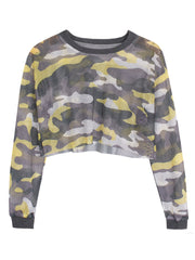 Summer new style retro harbor wind color camouflage hollow mesh long-sleeved T-shirt top sexy short