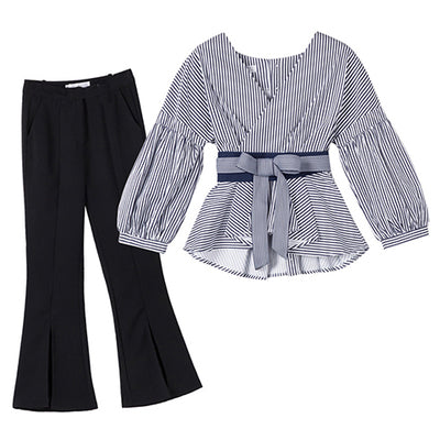 Spring dress 2018 new style of women's clothing, Korean fashion, fashionable port, fashionable temperament, two sets of summer broad leg pants suit.