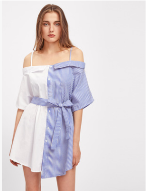 An irregular shirt halter dress with anshoulder collar and a patchwork stripe