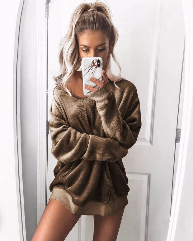 Fleece velvet long sleeve coat hoodie sweatershirt