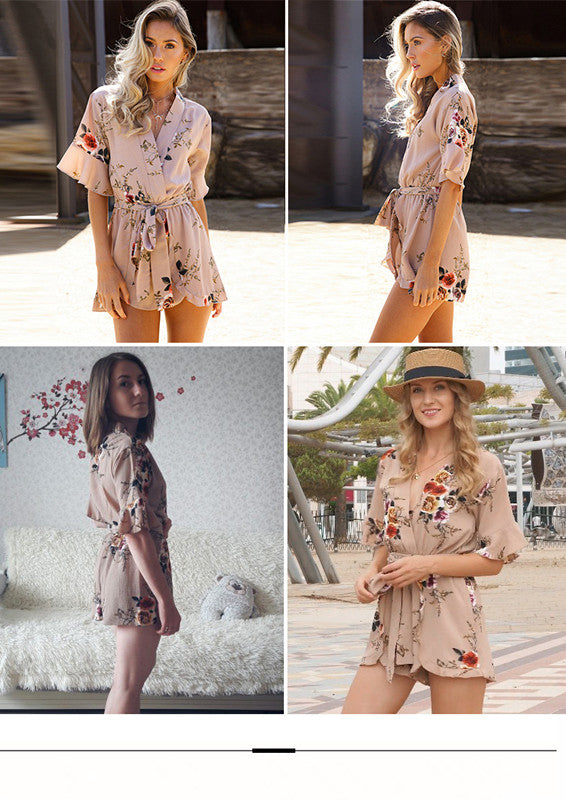 USA SIZE Europe and the United States V-neck ruffled short-sleeved Bohemian seaside holiday beach women's printed chiffon one-piece romper