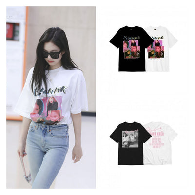 Korean version of the loose letter printed round neck top