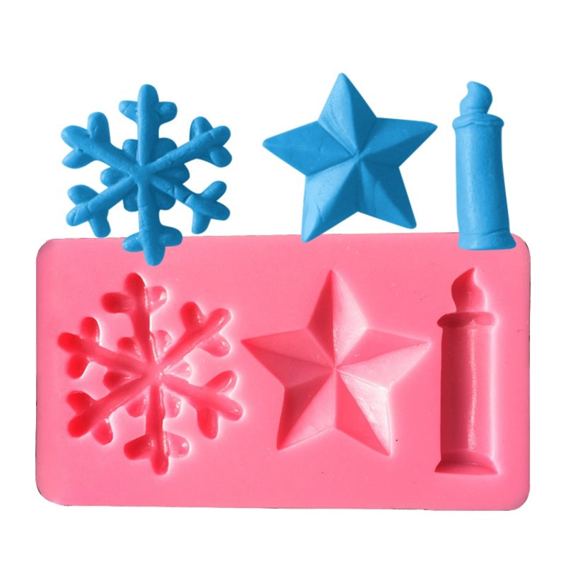 AK Christmas Candles Stars Snowflake Cake Decorating Silicone Moulds SM-502