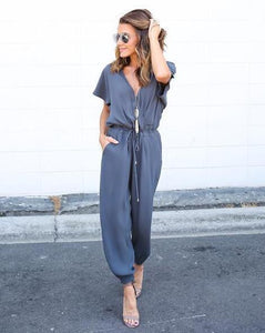 Solid Color Loose Casual Jumpsuits
