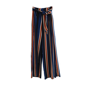 Women's pants fashion striped sexy split wide-leg pants casual pants women