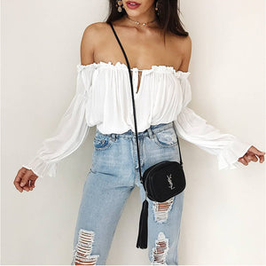 USA SIZE One-shoulder ruffled beach blouse puff sleeves with chiffon shirt top