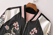 Flower embroidery on both sides wearing stand collar quilted baseball uniform jacket cotton coat