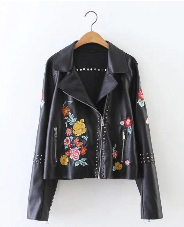 Casual Black Floral Embroidered Jacket