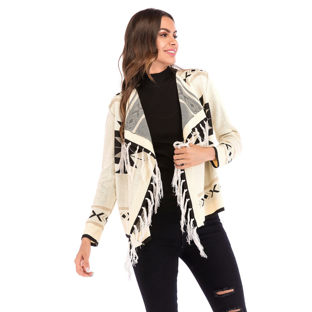 New Geometric Tassel Long Sleeve Knit Cardigan