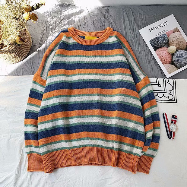 Contrast striped Long Sleeve sweater