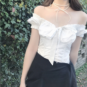 Sexy Bowknot Collar Shoulder-exposed Short-sleeved Women''s Shirt
