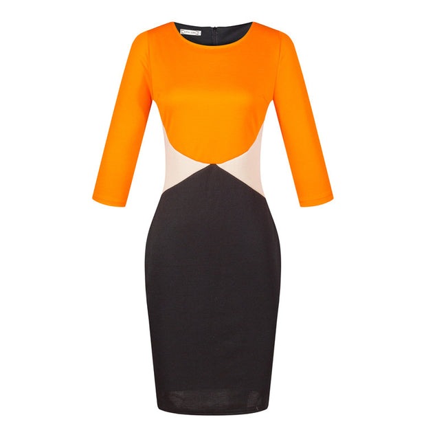 Women Long Sleeve Patchwork Bodycon Dress With Pencil Skirt