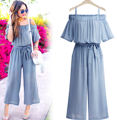 European station fat MM large size women's one shoulder strap jumpsuit Sling waist wide leg trousers