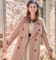 Vintage woolen coat female winter new long paragraph loose college style temperament over the knee coat