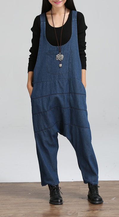 Vintage Women Jumpsuits Palazzo Pants Denim Jumpsuit Harem Pants Straps Pockets Jumpsuits Casual Pants Jumpsuit
