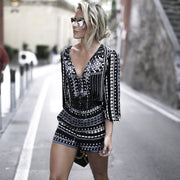 Europe and the United States big brand deep V-neck long-sleeved jumpsuit alipoon explosion models jumpsuit shorts