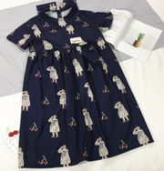 Cherry Pictorial Digital Printed Cotton Dress