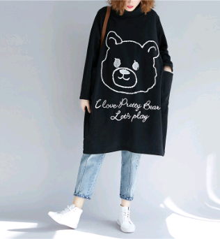Fat MM large size women's 2018 autumn and winter plus velvet thickening long section high collar sweater dress cartoon print dress
