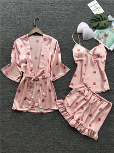 Pajamas women's summer thin section ice silk sling shorts robe three-piece Japanese sweet belt chest pad strawberry pajamas