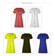 USA SIZE New women's solid color V-neck slim single-row button dress