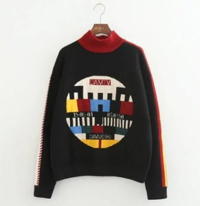Autumn new TV illustration pattern fine woolen sweater double thickness thickening sweater dress