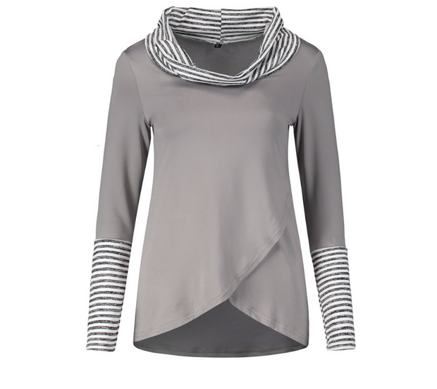 Fashion Striped Turtleneck Colorblock Long Sleeve Shirt