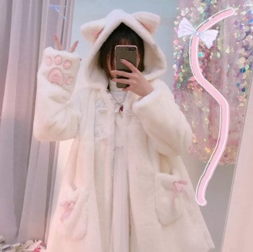 Women Winter Cartoon Fur Coats Japanese Kawaii Sweet Cat Paw Embroidery Faux Fur Soft Sister Long Warm Overcoat with Ears Hooded