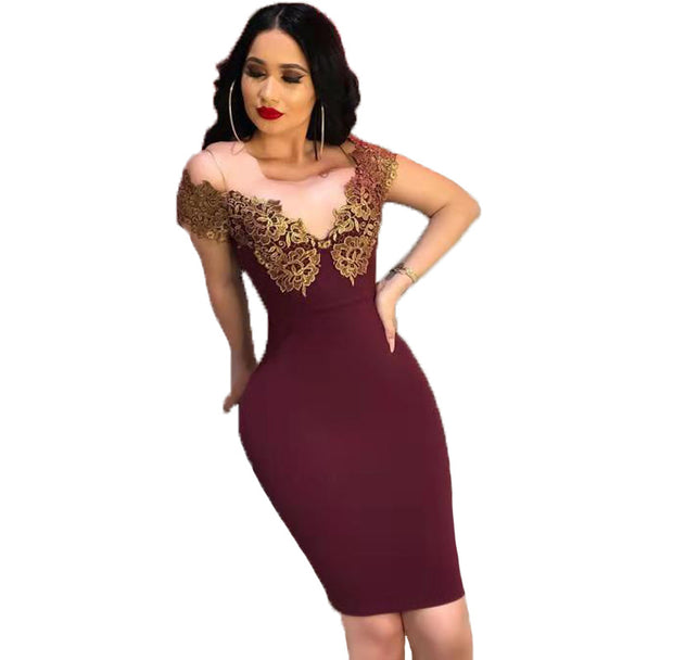 European and American women's lace bronzed deep V-collar sexy dress