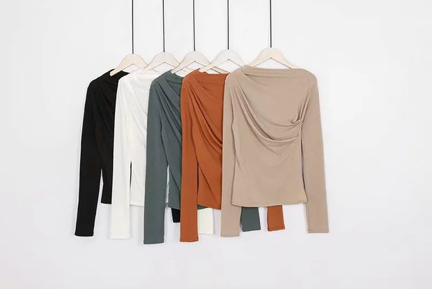 Long-sleeved t-shirt sexy word collar pleated off-the-shoulder top