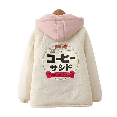 Harajuku style cotton hooded positive and negative wear stitching printing college ageing warm honey girlfriends winter clothing girls cotton clothes